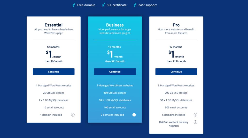 1&1 WordPress Hosting package